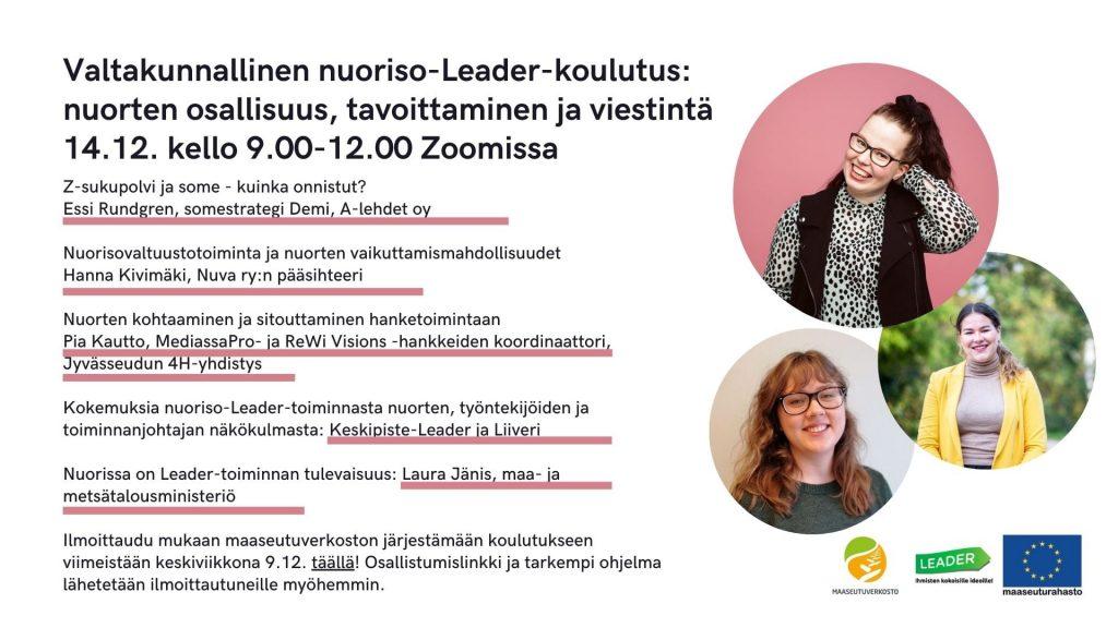 Nuoriso-Leader-koulutuksessa 14. joulukuuta kello 9-12 kerrotaan monipuolisesti nuorten tavoittamisesta viestinnän keinoin.